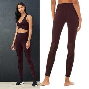 Alo Yoga Activewear Stretch High-Waist Moto Leggings In Oxblood Brown Small NWOT